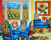 Art Print Sunflowers Interior Blue Table  Landscape Tea Pot Cookies Floral from Original Oil Painting by k Madison Moore
