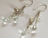 Faceted Quartz Dangle Earrings, Sterling Silver and Crystal Earrings