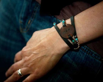 Stay in the Moment- Womens - Mens leather, sterling silver, turquoise, Custom word bracelet, Personalized Cuff, Wrap Bracelet