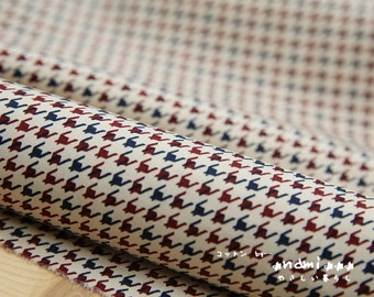 French Style Multicolor Blue and Red Houndstooth Herringbone Geometric Pattern-Japanese Cotton Fabric (Fat Quarter)