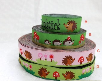 1 Yard Embroidery Sewing Ribbon/Trim - Lovely Hedgehog Friends In Mushroom Forest Woods