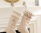 Linen Personalized Christmas Stocking Pair Embroidered Mr Mrs Wedding Gift Monogram Better Homes and Gardens