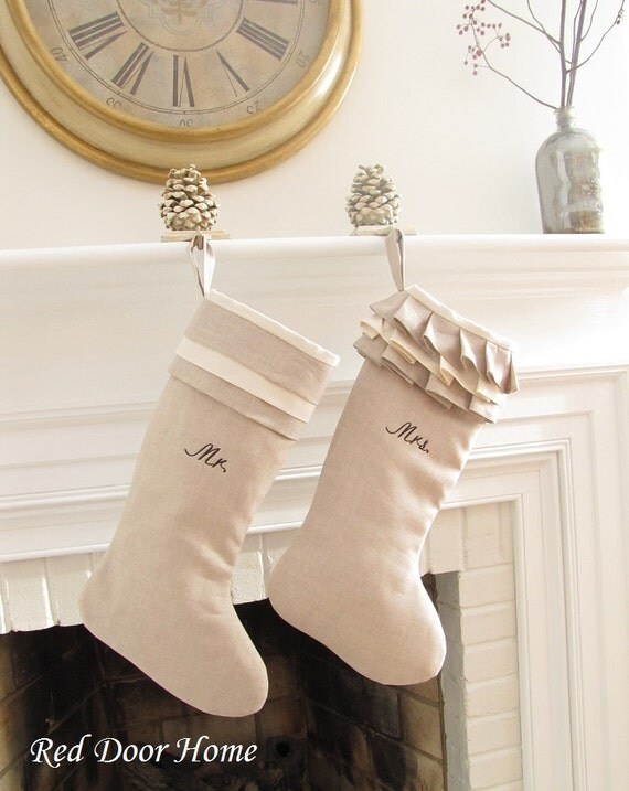 Linen Personalized Christmas Stockinsg Pair Embroidered Mr Mrs Wedding Gift Monogram Better Homes and Gardens