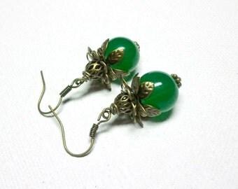 Jewelry Earrings Green Earrings, Colorful Earrings, Antique Brass, Green Glass
