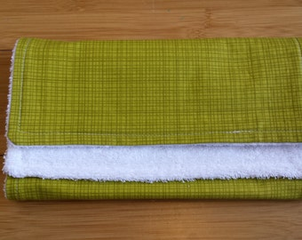 Puppy Park Crosshatch Green Burp Cloth