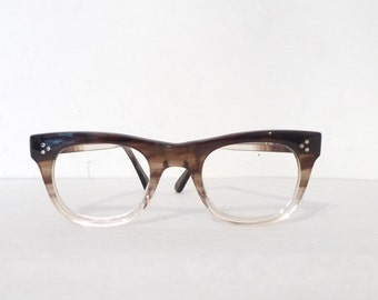 Crystal Clear - Brown Fade Wayfarer Eyeglasses Frame VTG 60s 70s Mens B&L Tart Arnel Type Eyewear Mad Men Era Sunglasses Sunnies Sale UNUSED