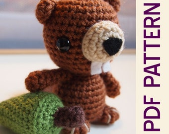 Amigurumi Crochet Woodland Bucky Beaver Toy Doll PDF Pattern