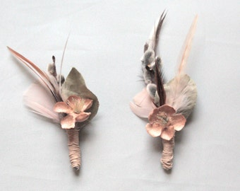 Dusty Vintage Flower and Feather Boutonniere