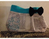 Newspaper Print Monster clutch with Blue Bow