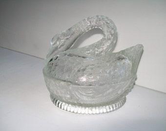 Glass Swan On Nest Covered Dish Trinket Box