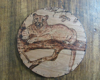 Wood Burnt Image of a Mountain Lion Basket Bottom or other Crat Projects