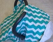 Infant Car Seat Cover Canopy-READY TO SHIP-Turqoise chevron white backing