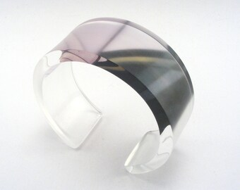Geometric Pattern Bangle, Modern Plexiglass Cuff Geometric Design Jewelry