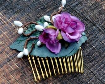 Purple Rose Hair Comb, Floral Bridal Fascinator, Light Purple, Wedding Accessory