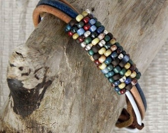 Multi Strand Leather Cord Bracelet with Seed Bead Focal