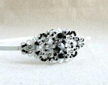 Black White Beadwork Headpiece Beaded Wedding Headband Beadwoven Bridal Hair Accessory Pearl Glass Crystal Grey