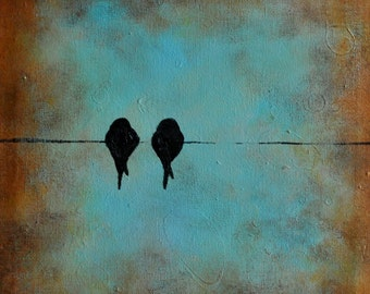 Lovebirds Swallows Original Abstract Painting, Birds on a Wire 12x12""