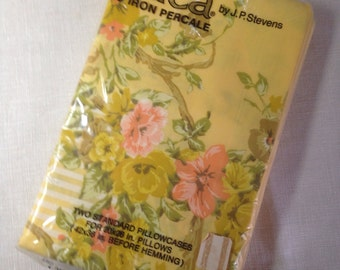 vintage pillowcase set butter yellow floral peach utica stevens in package