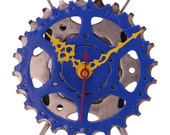 Recycled Bicycle Sprocket & Spoke Desk Clock - Blue