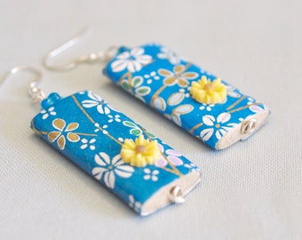 chiyogami paper earrings, electric blue earrings, 925 silver, paper jewellery, funky earrings