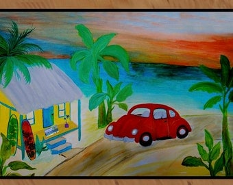 Beach House Red VW Bug in Sunset indoor-outdoor area rug,  Floor Mat. Available in 3 sizes