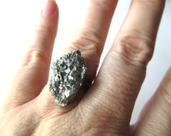 Raw pyrite ring, gemstone cocktail ring, adjustible antique brass or silver finish ring, rough crystal pyrite jewelry