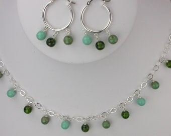Shades of Green Necklace and Earrings Set