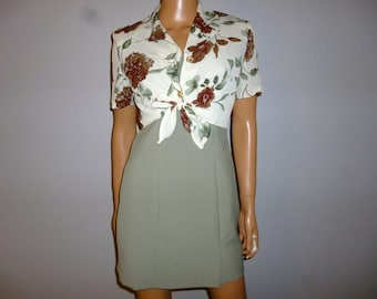 "Sripke a POSIE - Vintage 80's - Green - FLORAL - Shift -  A-Line - Micro Mini - 2 Peice Dress Set - Marked size Small- 35"" bust"