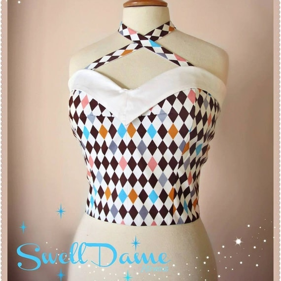 Swell Dame 1950s style harlequin print bustier sun top with adjustable straps Made To Order in your measuremments