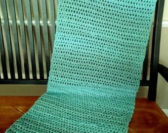 new crochet shawl wrap prayer VANNA'S COLORS bulky yarn LAGOON blue aqua variegated handmade in the usa
