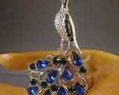 Peacock STAR Silvertone Blue and Green Rhinestone Brooch