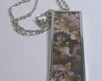 Botanical Ladies Microscope Slide Necklace