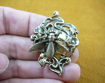 Horse fly horsefly love lover flying bug insect Victorian repro scrolled brass pin brooch B-Bug-151