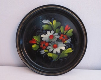 Russian Metal Toleware  Small Tray handpainted flowers
