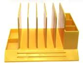 Vintage Max Klein Yellow Desk Organizer