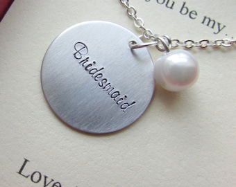 Ask Bridesmaid, Bridal Party Gift, Handstamped necklace. Other Color Pearl Available. FREE Notecard Jewelry Box.