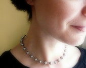 June birthstone. Pearl necklace. Grey peacock pearls with sterling silver wrapped wire. Long or short necklace.