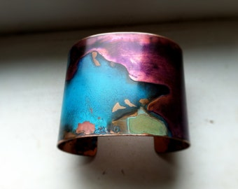 "The Original Patina Cuff - Purple & Mixed Verdigris - 2"" Copper Cuff"