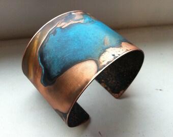 """The Original Patina Cuff - Blue Verdigris - 2"""" Copper Cuff"""