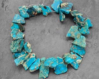 SALE 30% OFF - Impression Jasper (aqua terra jasper) Turquoise Blue Tan slab focal LARGE  Nugget Beads 18-60mm