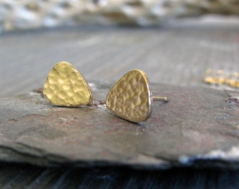 Small guitar pick stud earrings. Sterling silver, gold filled or solid 14k gold. Artisan teardrop. Music lovers gift. Musician Minimalist.