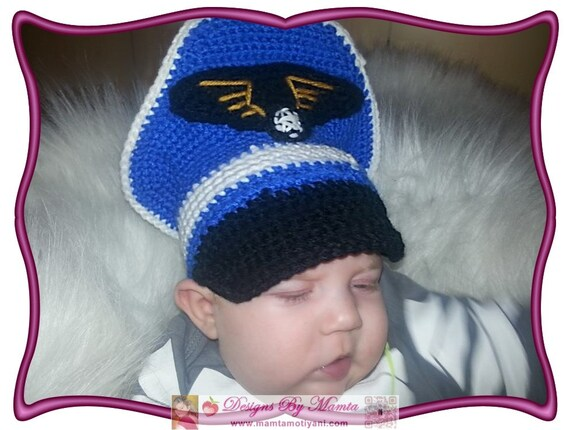Crochet Military Hat Pattern For Babies Captain Hat by Mamta