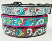 Modern Swirls Dog Collar / Handmade / Adjustable / Pet Accessories