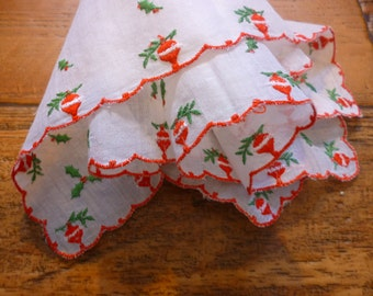 Vintage Embroidered Poinsettia & Holly Handkerchief