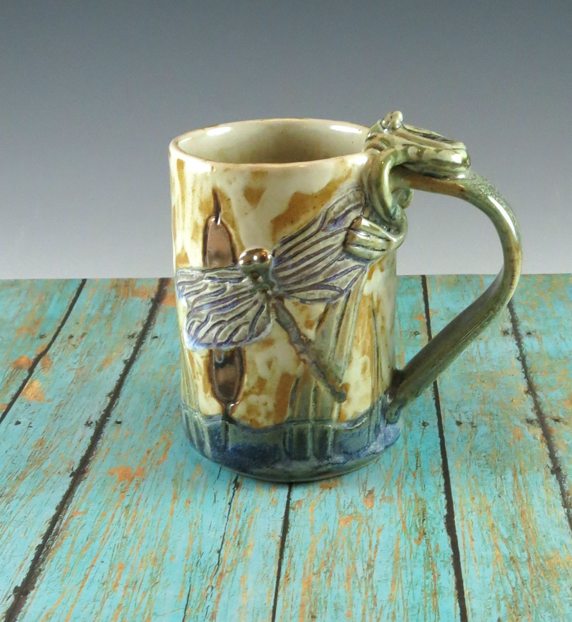 Cattails Pottery Mug Handmade Ceramic Coffee Cup By