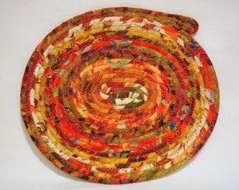 Autumn Splendor Oval Coiled Fabric Table Mat