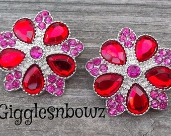 Rhinestone Buttons- NEW Set of TWO LiMiTED EDiTiON FaNCY XL Buttons- ReD/ SHoCKiNG PiNK 30mm