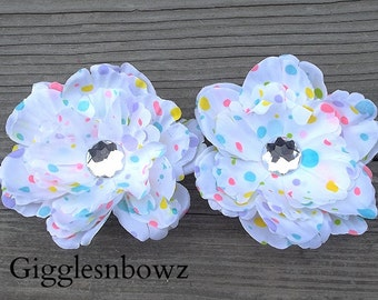Set of TWO Rhinestone Centered Silk PEONY Flowers- MuLTi PaRTY Dot 4 inch