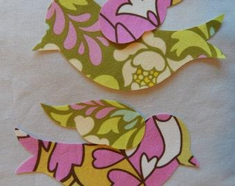 2 Fabric Iron On Bird Appliqués