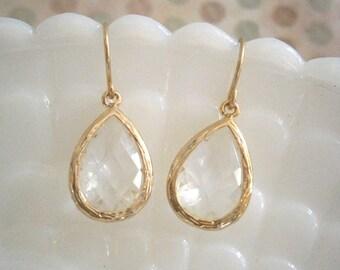 Clear Crystal Earrings, Gold Earrings, Teardrop Earrings, Best Friend Birthday, Bridesmaid Earrings